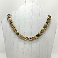 Vintage 1980s XO Enamel Collar Necklace Gold Tone Natural Green Butterscotch Tan
