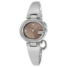 Gucci Guccissima Brown Diamond Dial Steel Small Ladies Watch YA134506