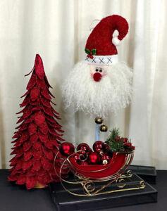 Red Christmas Centerpiece Decorations Santa Tree Sleigh Ornaments Glitter Winter