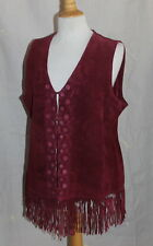 NWT Chico's -Sz 2 L Rich Suede Fringed Romantic Funky Western Vest Jacket $199