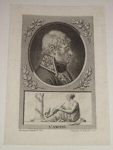 Gravure PORTRAIT GENERAL MONNIER NAPOLEON CONSULAT EMPIRE PROVENCE VAUCLUSE 1802