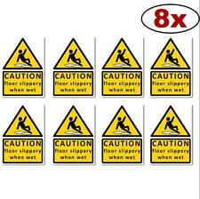 CAUTION Floor Slippery (8) when wet sign sticker vinyl A6 105 x150mm