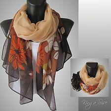 Schal * Scarf Halstuch Tuch Loop Cloth Casual Style - Blumen - SLP orange
