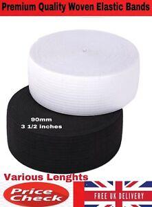 90MM PREMIUM WHITE/BLACK Flat WOVEN ELASTIC BAND SEWING GARMENT VARIOUS LENGTHS