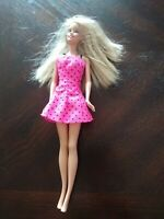 Blonde Blue Eyed 1999 Barbie Pink Polka Dot Dress