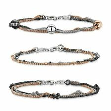 Amberta 925 Sterling Silver Adjustable Multi Layered Chain Bracelet for Women