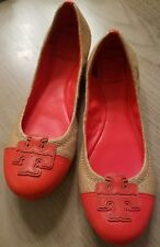 TORY BURCH Carita straw leather Logo flats colorblock Size 10 VGUC Fire Orange