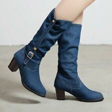 Winter Slouch Mid-Calf Cowboy Boots For Women Denim Chunky Heels Booties US 6