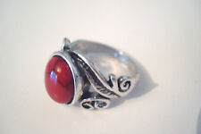 Aged Silver Tone Ornate Red Cracked 'Stone' Statement Ring Size S