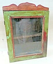 Vintage Wood Cabinet Curio Display showcase scraped color solid back distress