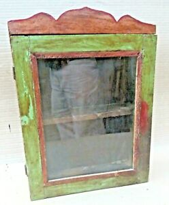 Vintage Wood Cabinet Curio Display showcase scraped color solid back distress