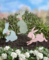 Pastel Easter Bunny Accent Garden Stakes Yard Outdoor Decor BLUE GREEN or PINK