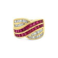 Levian 18K желтое золото красный розовый Рубин багет бриллиант кроссовер коктейльное кольцо