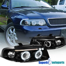 Fit 96-99 A4 Dual Halo Led Projector Headlights Head Lamps Black SpecD Tuning
