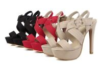 Ladies Fabric Party Shoes Platform High Heels Pumps Strappy Sandals US Size S103