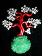 KENNETH JAY LANE KJL BROOCH PIN ASIAN BONSAI TREE FAUX JADE CRYSTALS RED ENAMEL