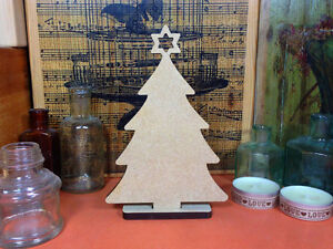 WOODEN CHRISTMAS TREE 14.5cm MDF FREESTANDING wood shape decoration xmas craft