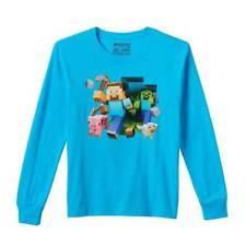 NWT-Boys Mojang Minecraft Characters Blue Long Sleeve Top Shirt-sz XL 18/20