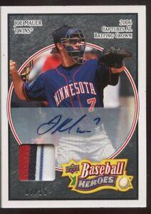 2008 Upper Deck Baseball Heroes Joe Mauer Minnesota Twins AUTO /15 3 Color Patch