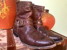 Fry Womens Ankle Boots Studs Distressed Brown Soft Leather Rugged Size 8