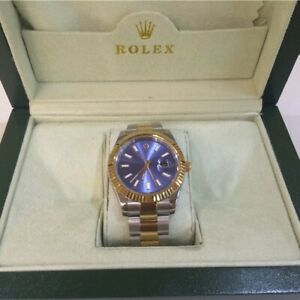 vintage stainless Rolex Datejust Steel Yellow Gold Tiffany Blue Dial Watch