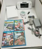 Nintendo Wii U 8GB White Console WUP-101(02) GamePad + 4 Games + 32GB USB TESTED