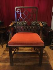 Early Antique Chinese Chippendale Mahogany Fretwork Arm Chair Desk 19th Century