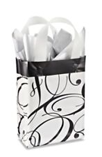 Small Printed Frosted Black Swirl Gift Bags 4 Mil Thickness 20ct