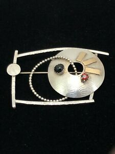 1995 Lynda Thorp Sterling/ Gold Modernist Brooch Pin With Garnet & Onyx Stones