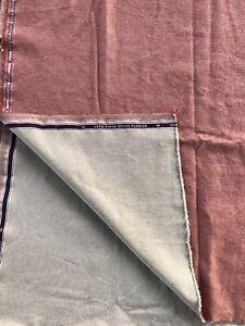 "Loro Piana denim flower red tan heavy cotton twill fabric 2/3 yard 24"" x 62"""