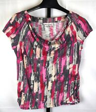 DKNY Pink and Gray Drape Neck Short Sleeve Top Size L
