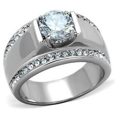 Men's Stainless Steel Round CZ Raised Cubic Zirconia Wide Band Ring sz 8-13