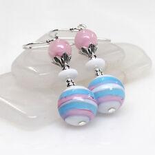 Pink Aqua Venetian Murano Lampwork Glass Earrings, Pastel, Artisan, Pretty