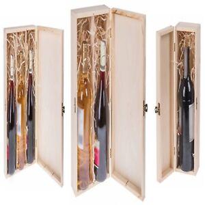 Weinflaschen Geschenkbox mit Deckel und Schloss Weinkiste Holz für 1, 2, 3 Weine