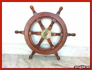 Brown Wooden Steering Wheel Wall Decor 18 Inches Nautical Style Boat Ship Wheel