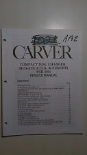 Carver SD/A-370 psd-36b service manual original repair compact disc cd player