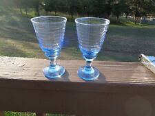 Blue Beehive Ribbed Drinking Glasses Footed (set of 2)