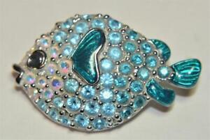 Stamped SWAN Silvertone Enamel Aqua SWAROVSKI Crystal SWELLFISH Shape Pin Brooch