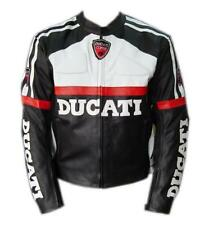 BLACK DUCATI GEAR MOTORBIKE RACING LEATHER JACKET CE APPROVED