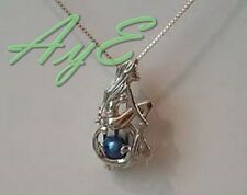 Sterling Silver Pearl Cage Pendant-Shape Mermaid Girl Fun Gift Akoya Oyster