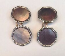 Vintage 14K Two Tone Gold Cufflinks with Mother Of Pearl Park Roger