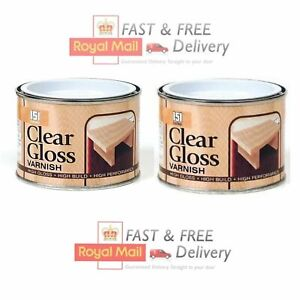 2 X Clear Gloss Varnish Wood Indoor Outdoor Paint Finish Interior Exterior 180ml