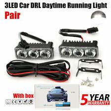 2 Pcs Car Daytime Running Light 3 LED White DRL Amber Turn Signal Front Fog Lamp