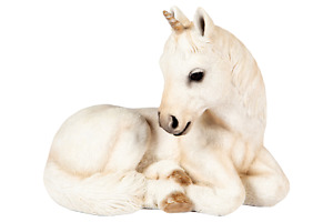 Baby Unicorn Garden Ornament Mythical Resin Statue Frostproof Fairy Tale 21cm
