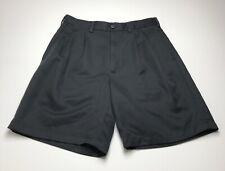 PGA Tour Men Golf Shorts 32 Solid Black Pleated Front Side Back Pocket Polyester