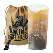 Viking Culture Horn Mead Cup with Axe Bottle Opener and Burlap Bag Thors Hammer