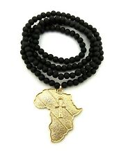 """NEW AFRICA MAP & ANKH CROSS PENDANT 6mm/30"""" WOODEN BEAD CHAIN NECKLACE RC1871"""