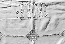 DRAP EN LIN ANCIEN DRAP FLEURS JOURS & MONOGRAMME JMC BRODÉS MAIN 3,20mx2,20m