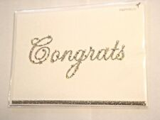 Papyrus Congratulations Greeting Card Sparkled Sequined Gold & Silver Script NIP