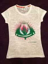 Victoria's Secret PINK White Design T Shirt Top Fitted Size 8 10 12 Boho Beaded